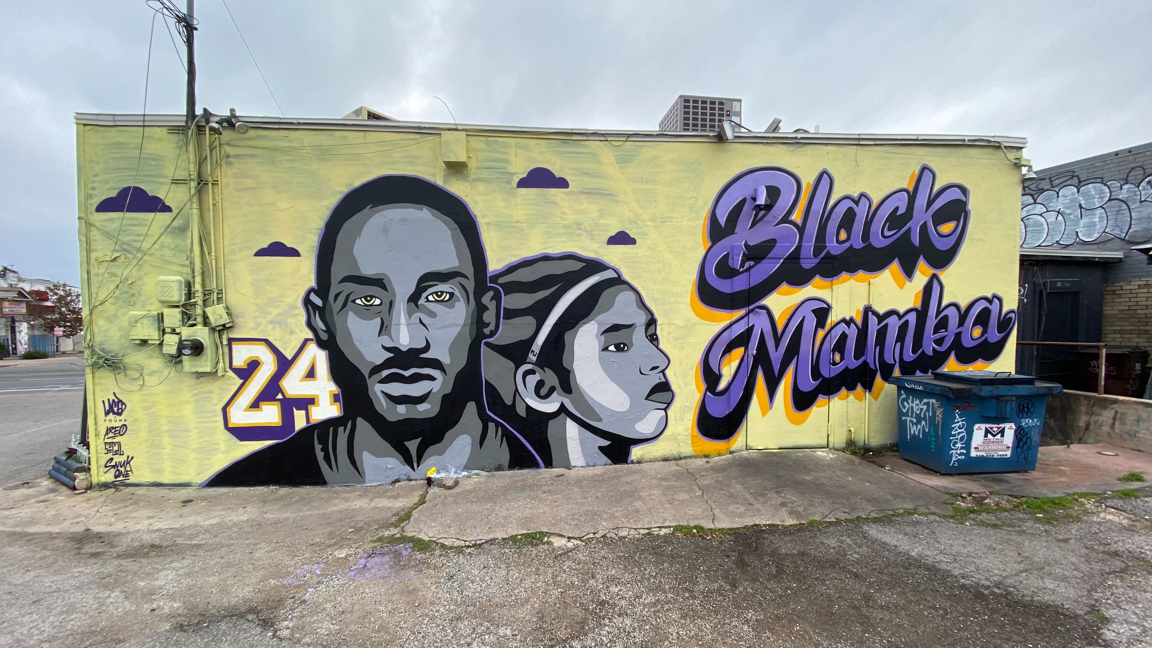 Mural Of Kobe Gigi Bryant Restored After Rapist Painted Next To Kobe S Face Kxan Austin