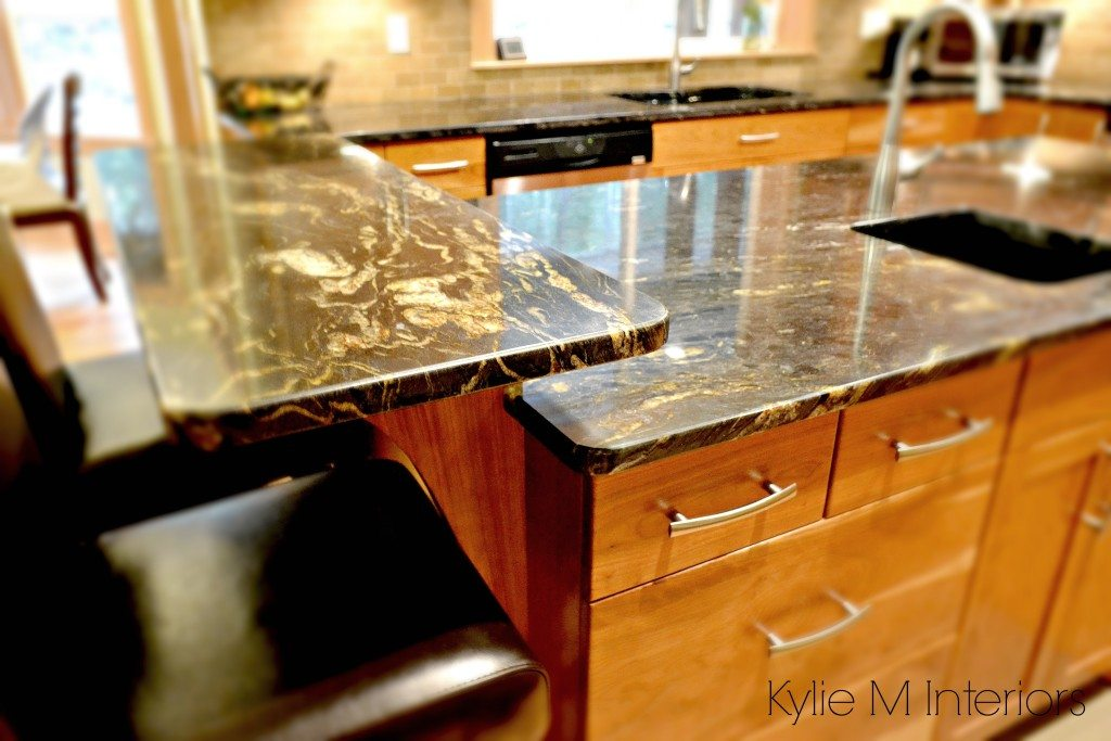 Best Affordable Kitchen Cabinets Black Granite With Gold And Cream Flecks On Island With