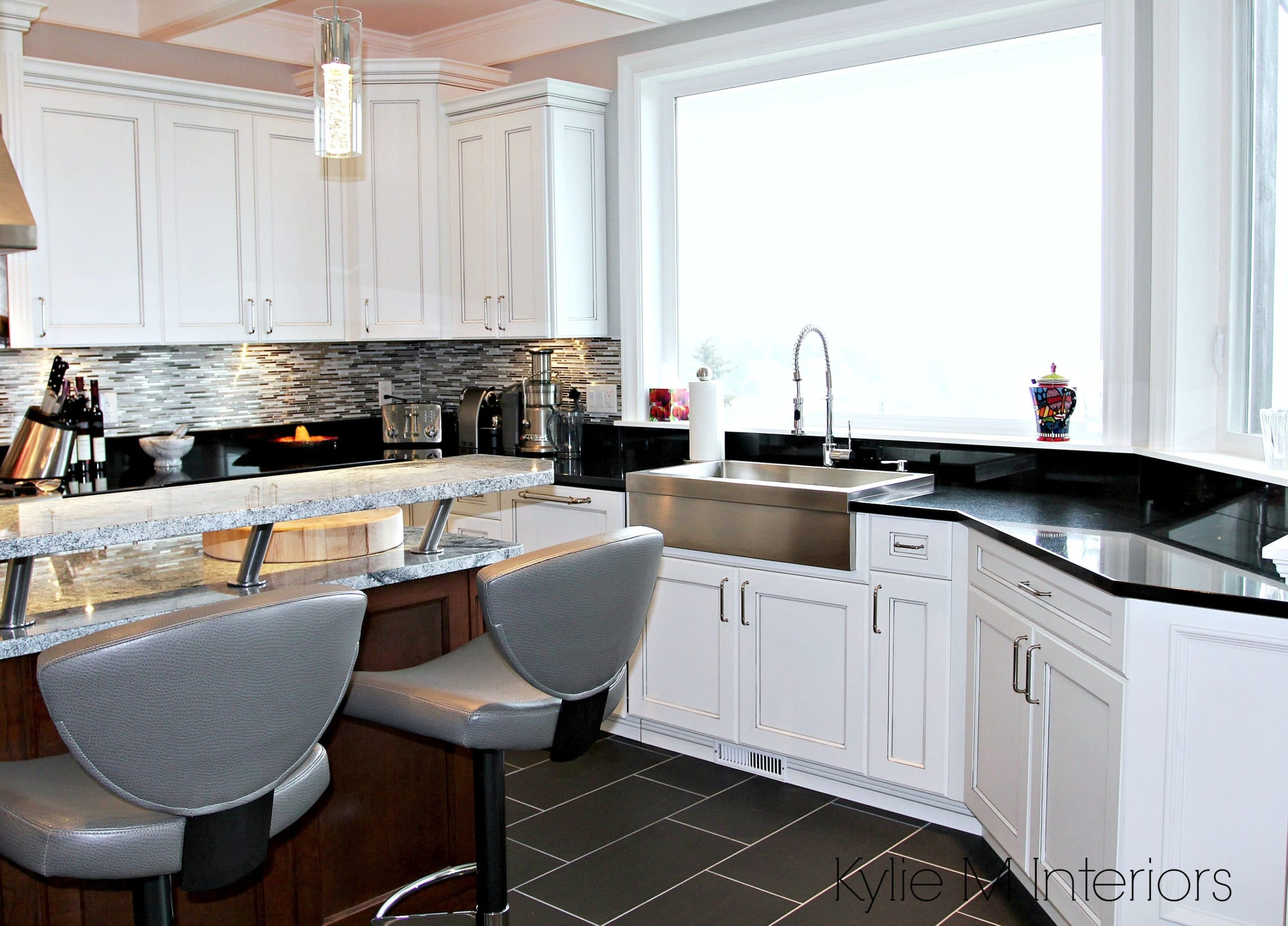 White Marble Island White And Gray Marble Island With Black Granite Countertops White