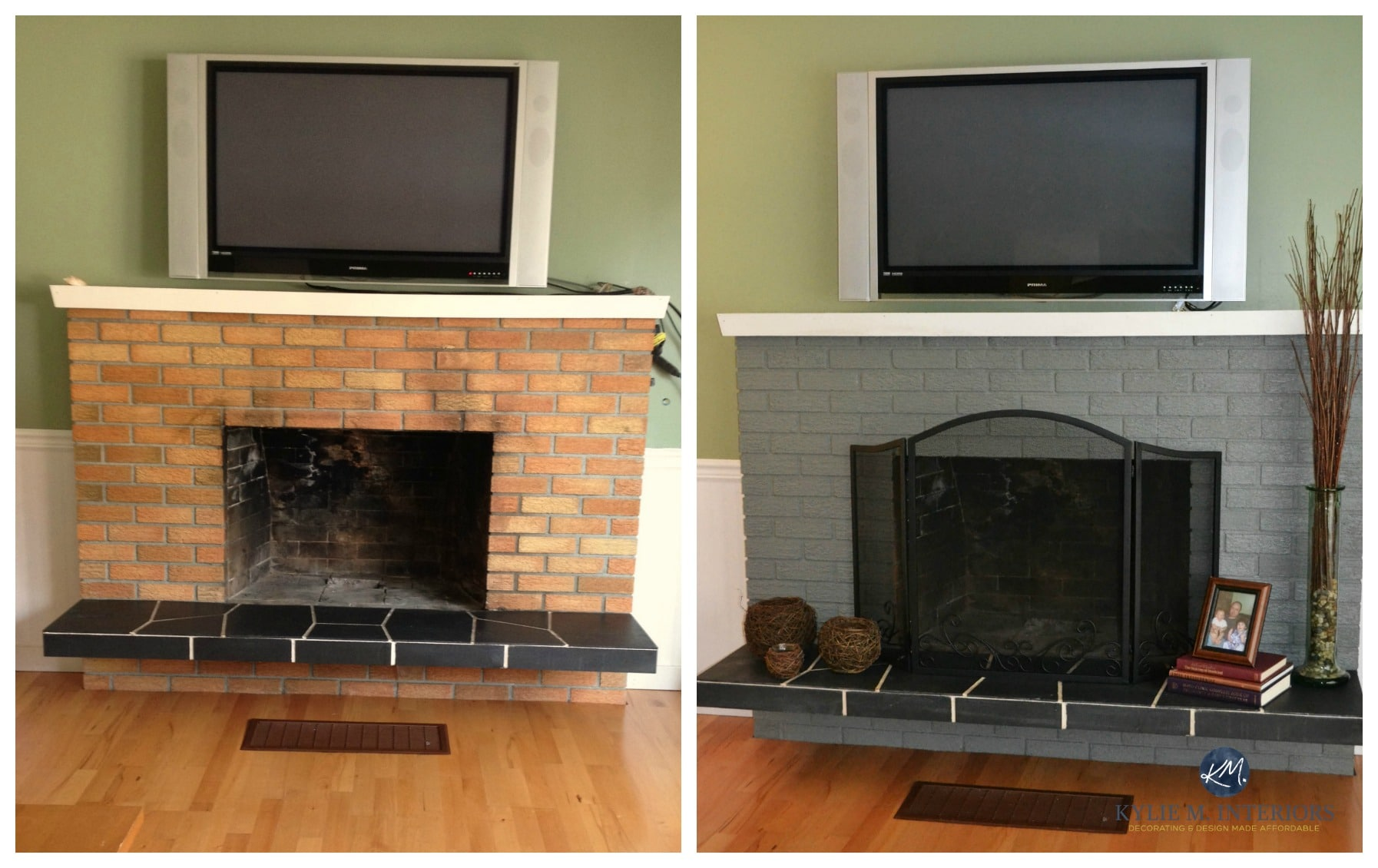 Update Old Brick Fireplace The Best Sheen To Update And Paint An Old Brick Fireplace