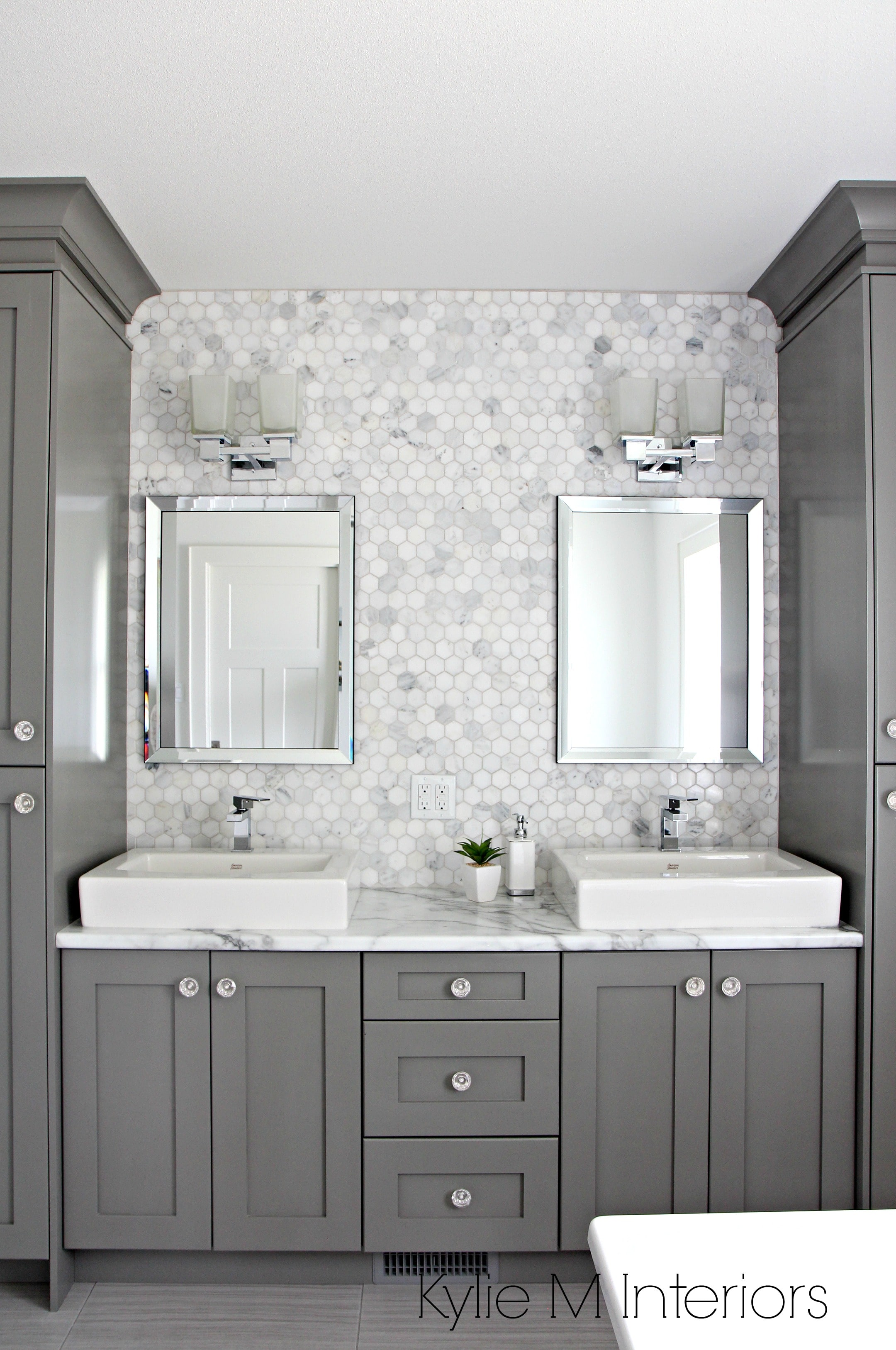 Painted Marble Countertops Double Vanity In Bathroom Painted Benjamin Moore Chelsea Gray