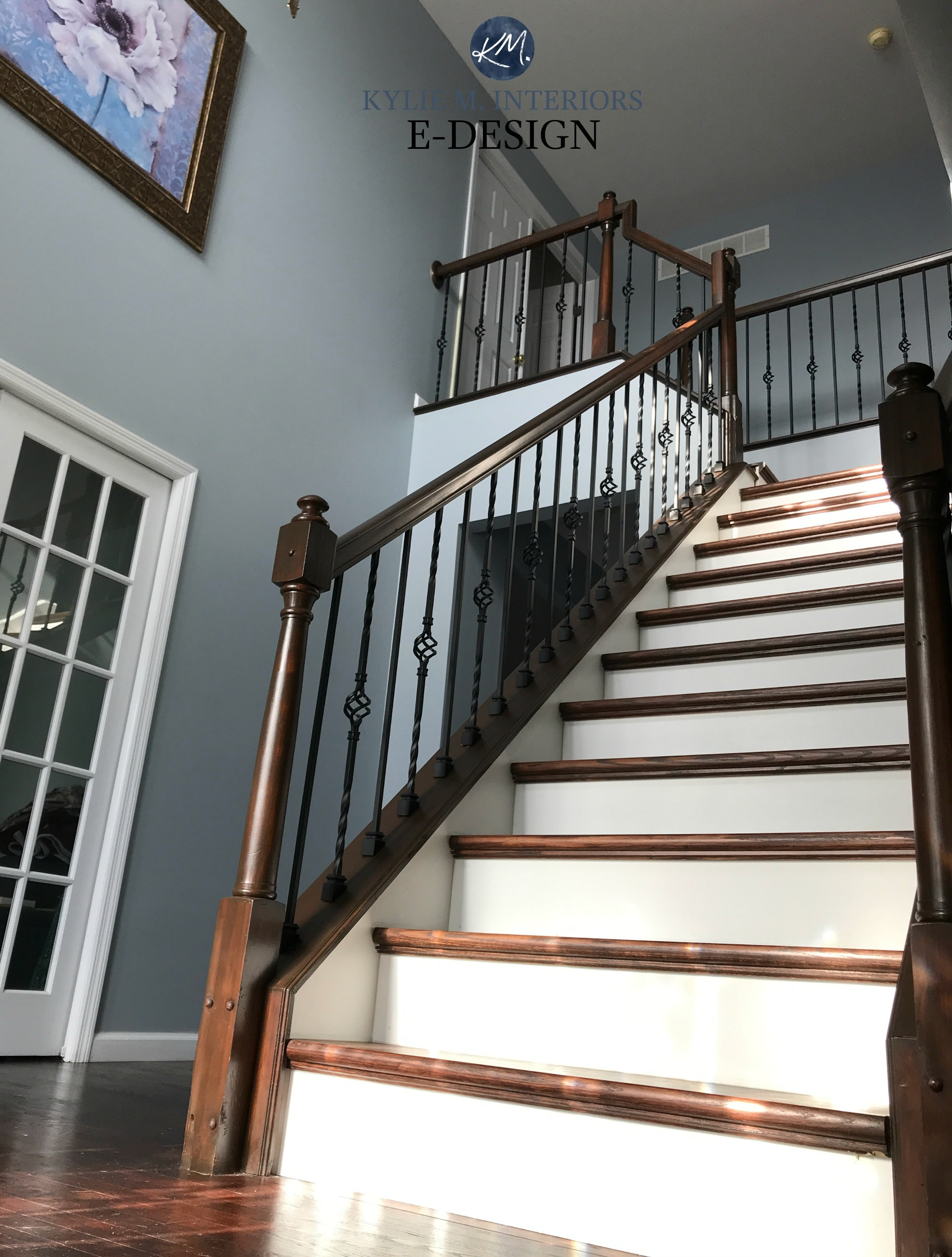 Cool Blue Paint Sherwin Williams Jubilee In 2 Storey Entryway Foyer With Dark Wood