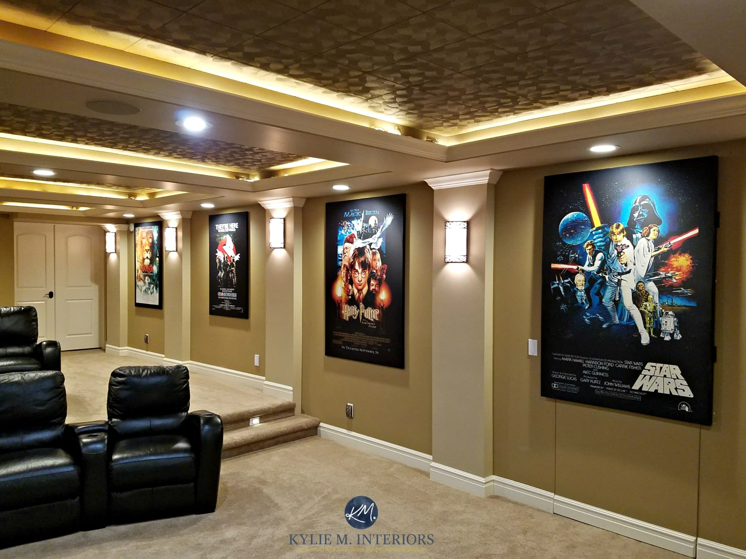 Ceiling Design Online Home Theatre Room With Textured Acoustic Tile Ceiling Movie Posters