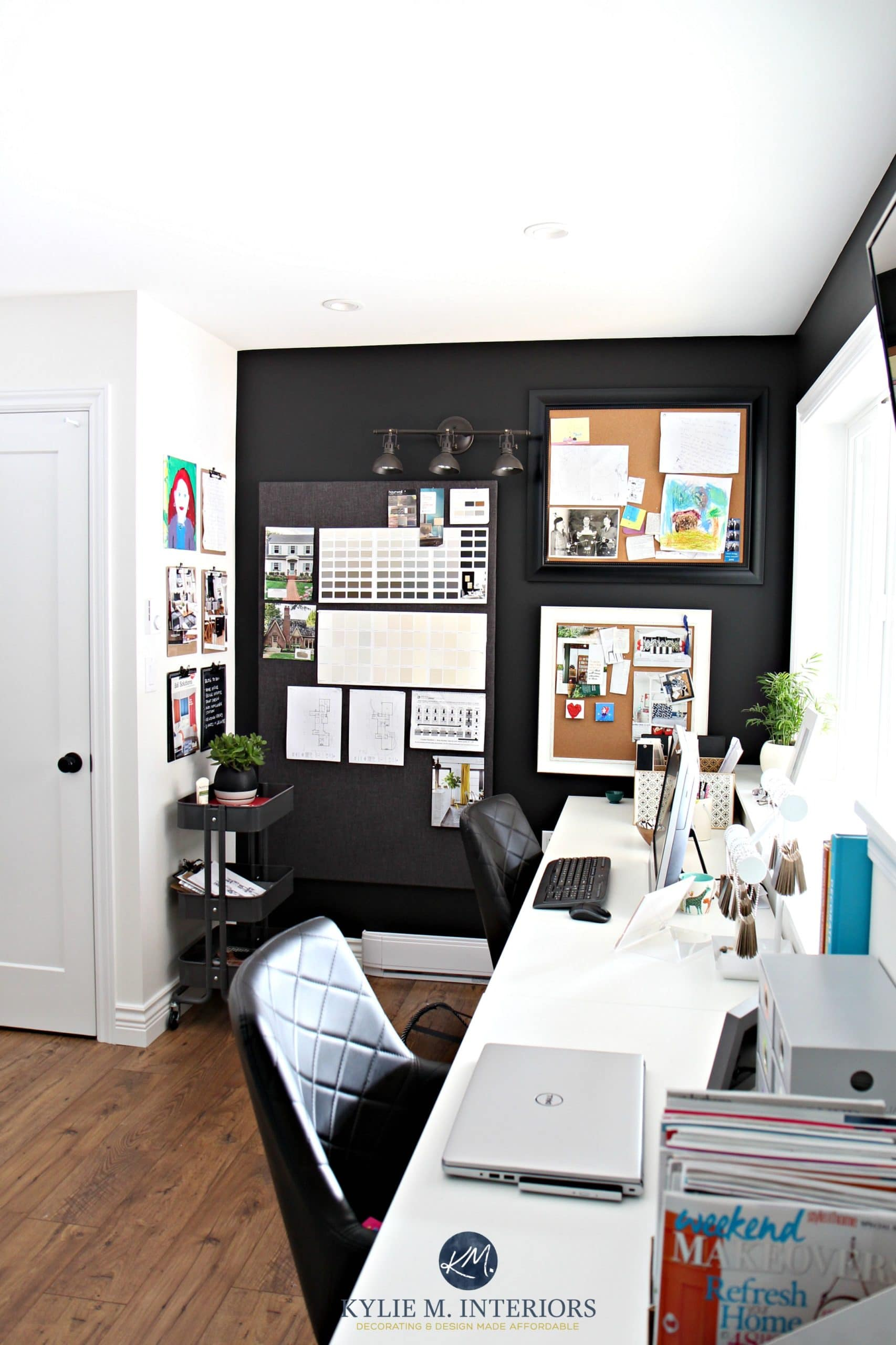 Black Accent Walls Home Office Decorating Ideas By Kylie M Interiors Corkboards And