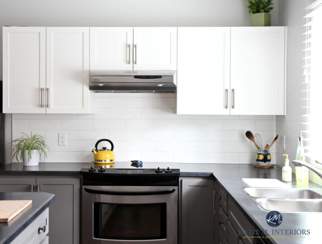 Black Base Cabinets White Upper Cabinets A Budget Friendly Kitchen Update White Gray And Gorgeous