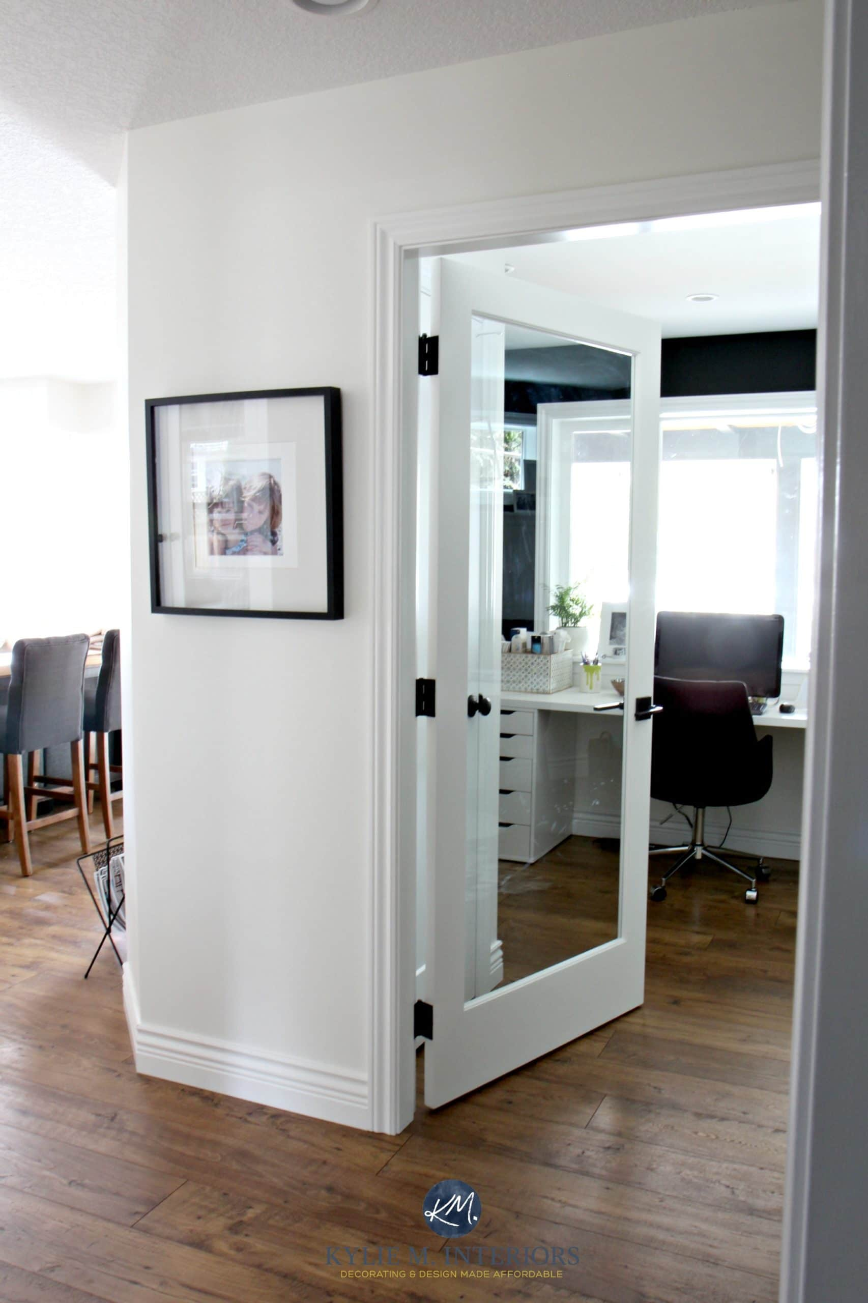 Black Accent Walls Sherwin Williams Creamy With Glass French Door Into Home Office