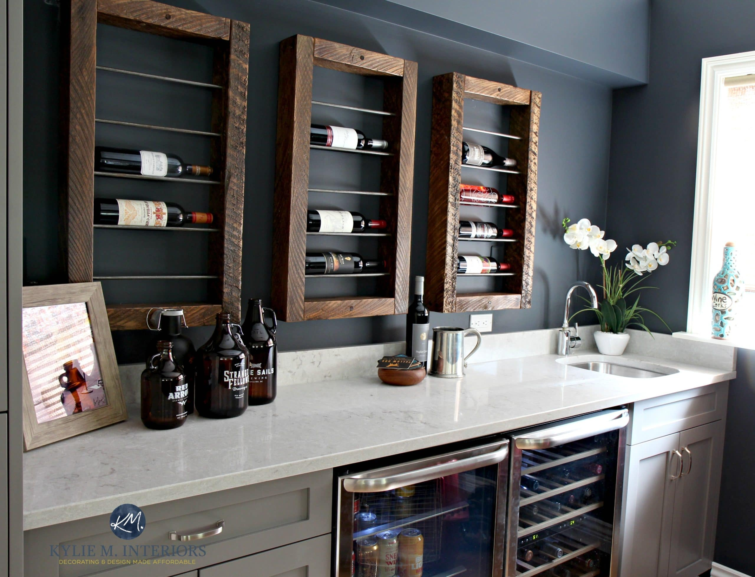 Sherwin-williams Countertop Paint Home Bar With Wine Display And Storage Beer And Wine Fridge