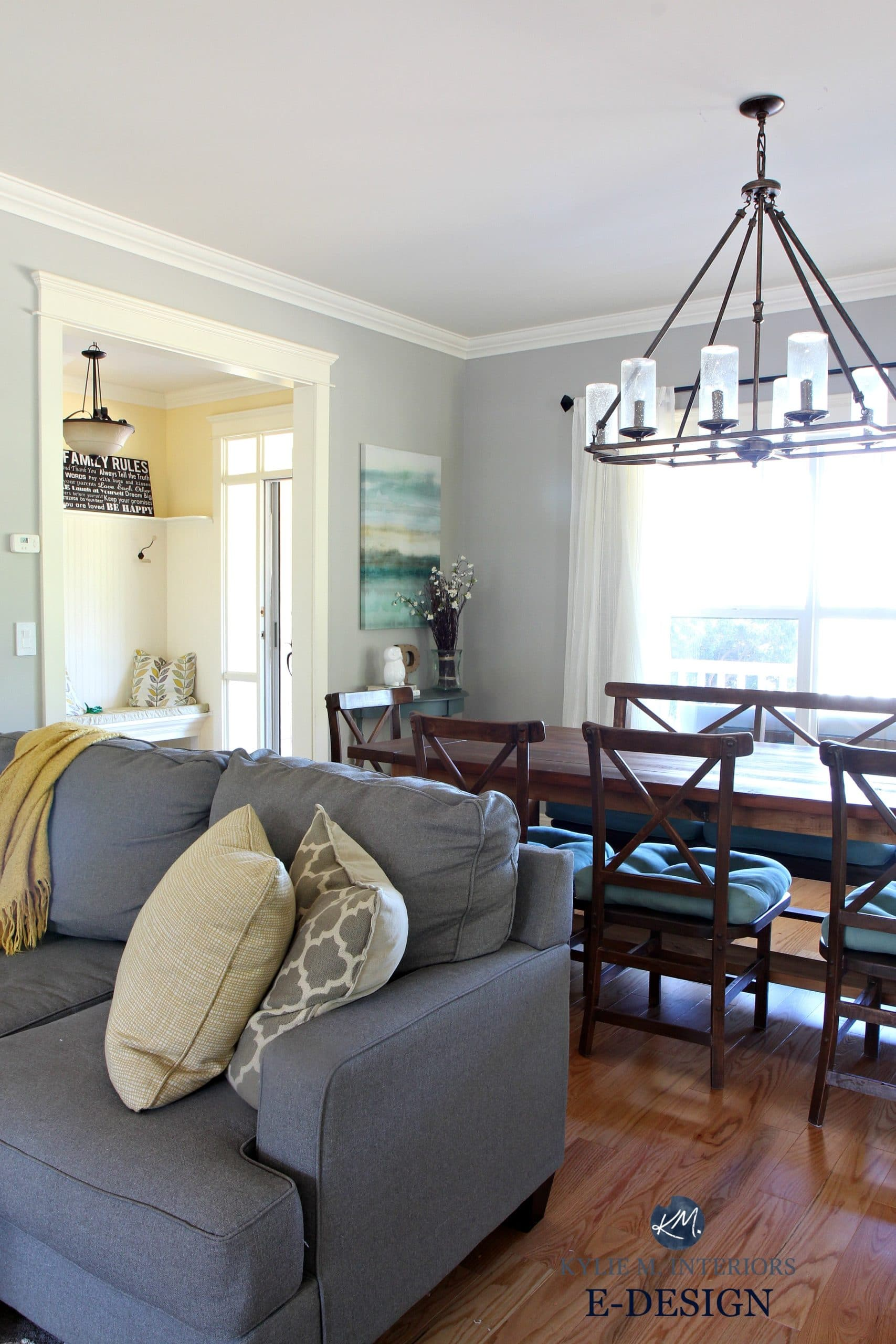 My Yellow Farmhouse Blog Benjamin Moore Revere Pewter In Living Room With Gray