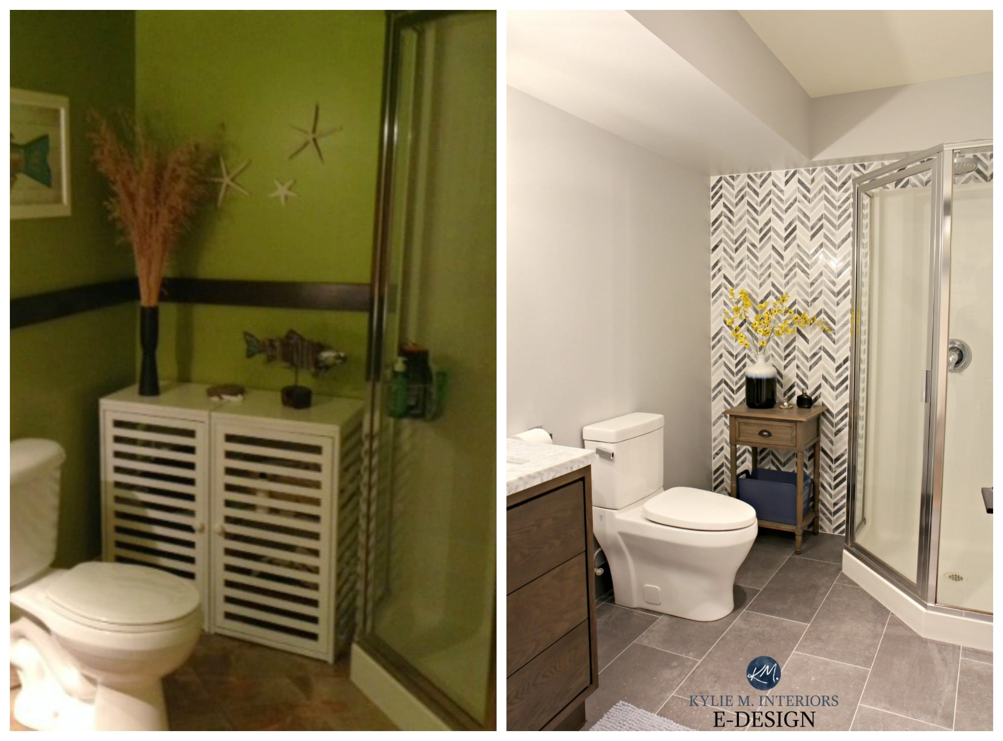 Before And After Ideas To Update Small Bathroom With Corner Shower Gray And Herringbone Marble Tile Vanity Paint Color Kylie M Interiors E Design Online Paint Color Consulting