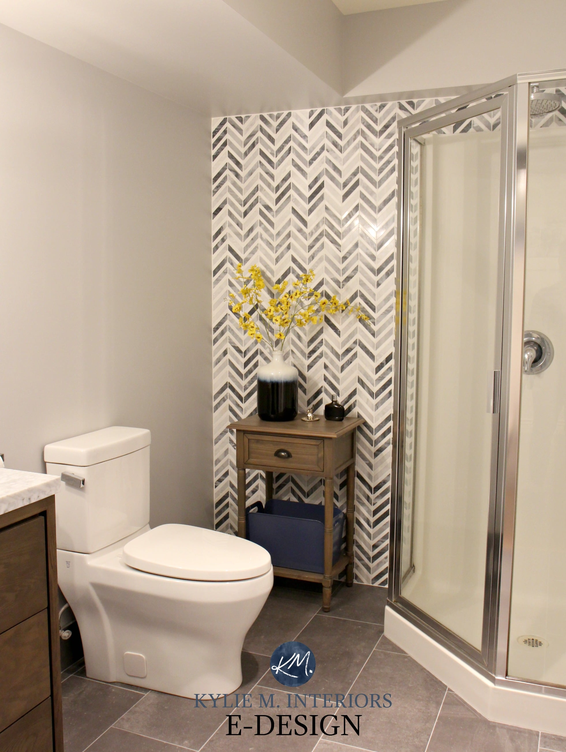 Herringbone Or Chevron Gray Marble Accent Tile In Small Bathroom With Corner Shower Feature Wall Kylie M Interiors E Design