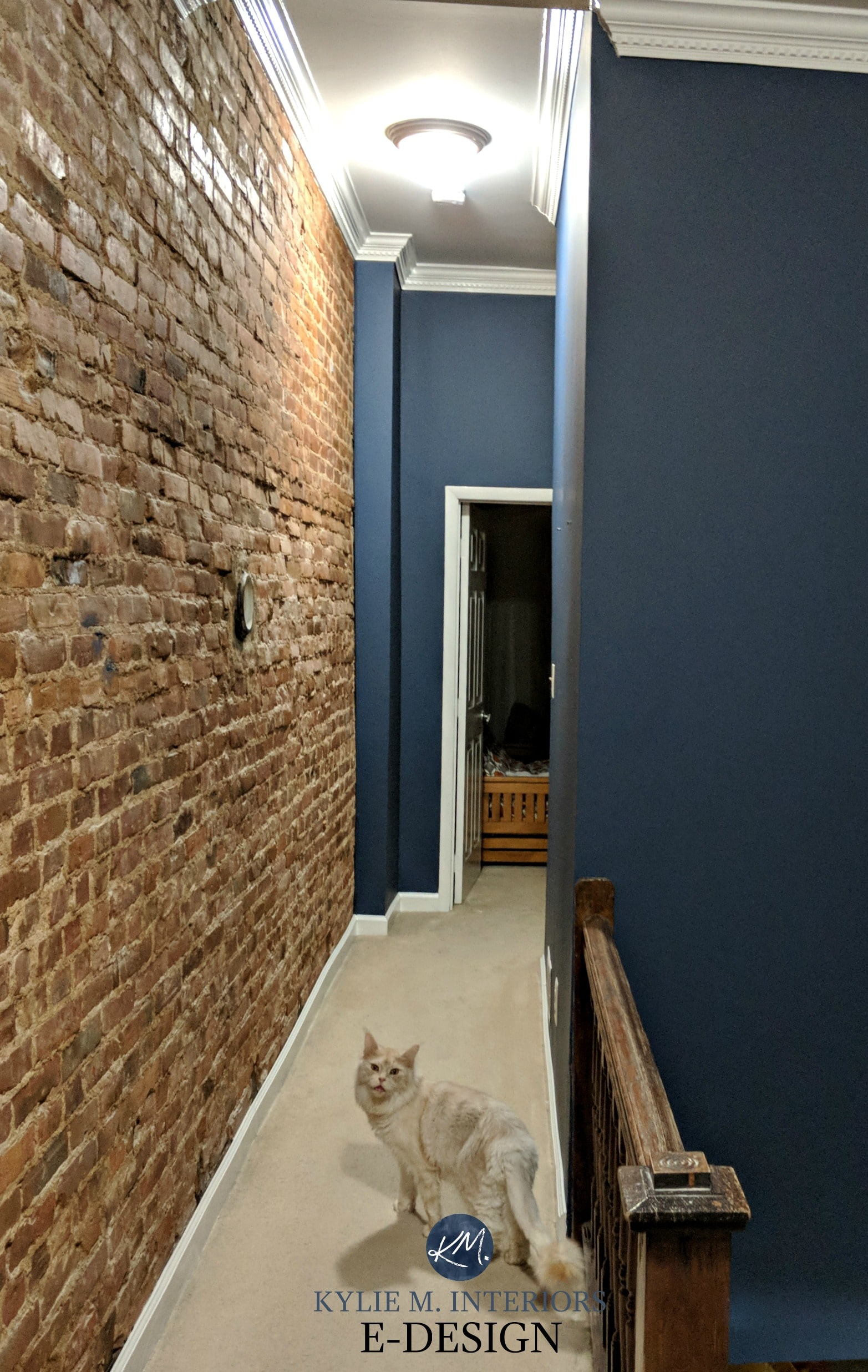 Brick Paint Colors Interior Benjamin Moore Newburyport Blue Navy Blue With Red Brick Feature