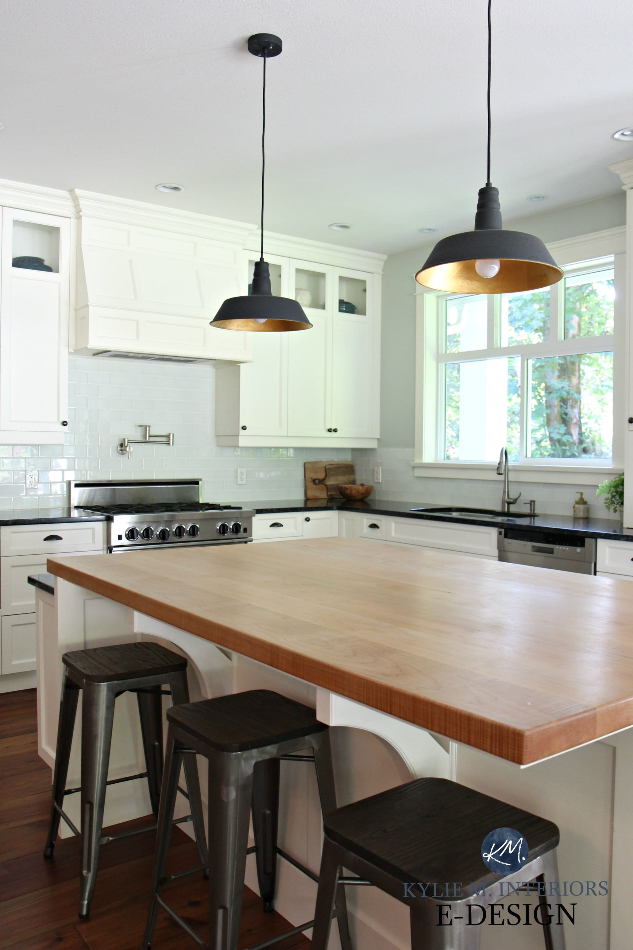 Black Island Kitchen Kylie M Interiors Edesign Butcher Block Island In Farmhouse