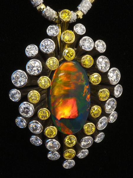 Black Opal Pendant AT188Black Opal 5.070 ctYellow Diamond 0.832 ctDiamond 1.638 ct