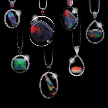 Black Opal 20.17 ct Diamond 2.514 ct Pt. 900