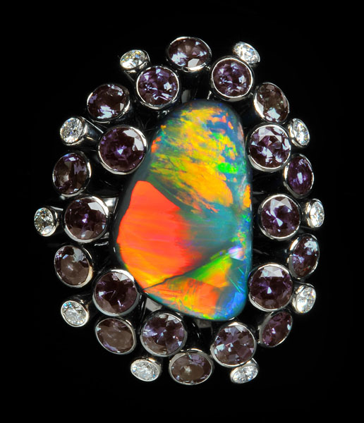 Black Opal and Alexandrite Ring