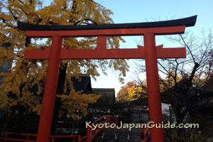 Orange torii gate at Shimogamo Shrine