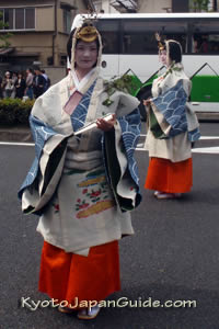 Women in Heian-Era custumes in hollyhock festival