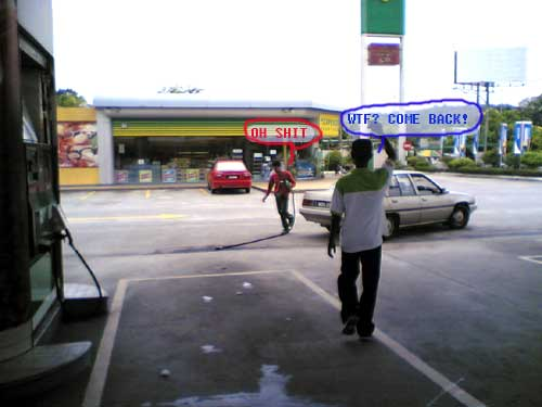 running away with the petrol dispensor