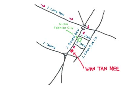 Map to Sungai Besi Wan Tan Mee