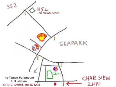 map to restaurant char siew chai, taman paramount