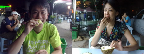 KY and Mell eating durian