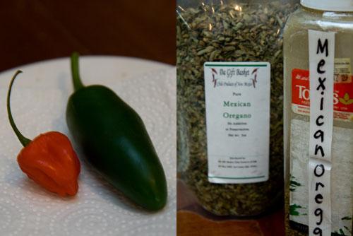 habanero, jalapeno pepper, mexican oregano