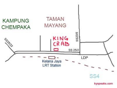 Map to Restaurant King Crab at Petaling Jaya