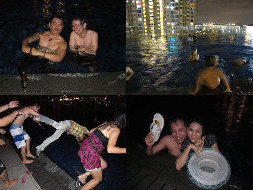 throwing people into the pool at Malam Tumpang Glamour