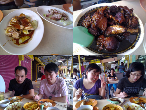 chicken rice and vinegar pork at PJ old town with horng, KY, kerol, and rachel