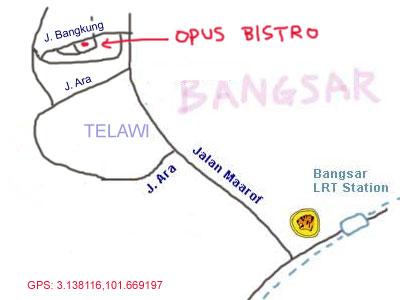 map to Opus Bistro at Bangsar
