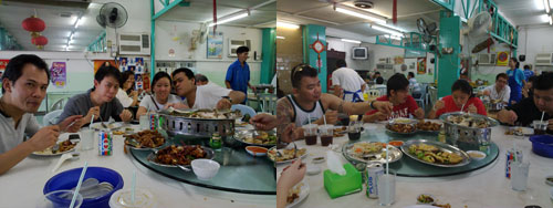 lunching with the guys at yap yin after go-kart session