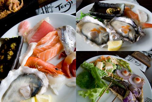 sashimi, oysters, at Tenji Japanese Buffet