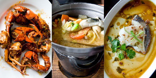 Singapore chili crab, soup, steamed cod