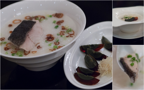 congee with cod fish and century egg