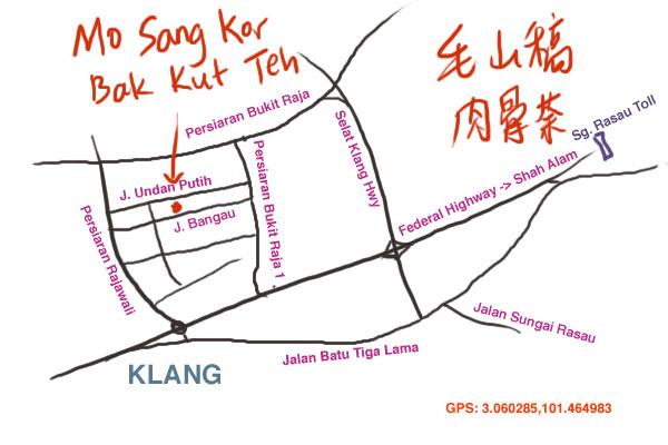 direction to Mo Sang Kor bak kut teh at Taman Berkeley, Klang