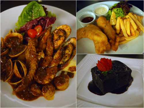 BeerBQ seafood platter, fish and chips, brownies