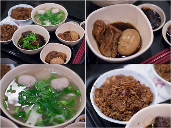 two sets - yam rice with mixed pork soup and pork knuckle