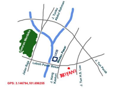 map to nasi briyani lorong bandar 13