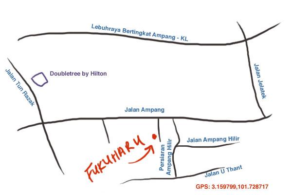 map to Fukuharu, off Jalan Ampang