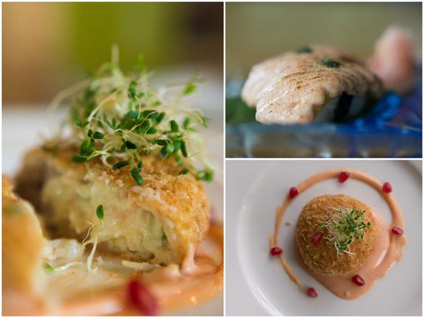 seafood korokke and tamago mentai sushi