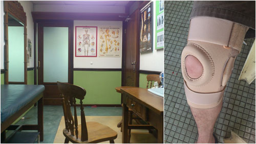 Dr. Gan's office, my knee brace