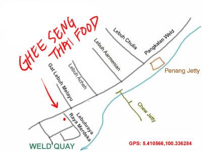 map to Ghee Seng Thai restaurant at Weld Quay, Penang