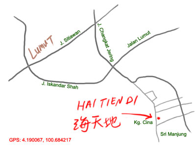 map to Hai Tien Di seafood restaurant at Sitiawan