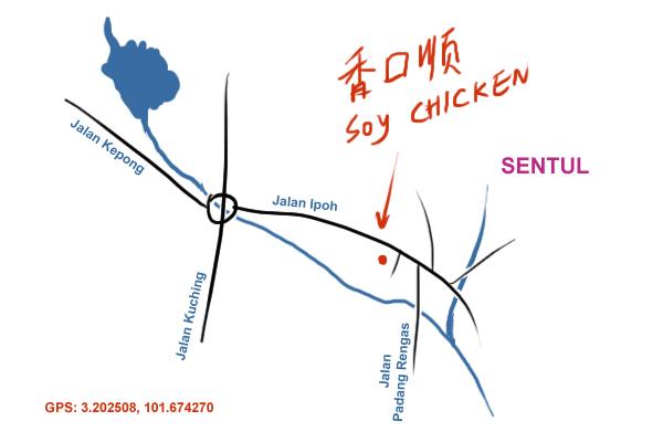 map to Jalan Ipoh soya sauce chicken rice