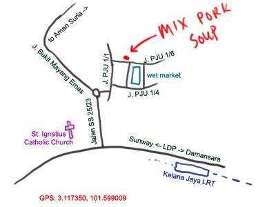 map of kampung cempaka's mixed pork soup