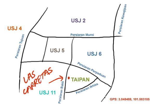 map to Las Carretas at USJ Taipan
