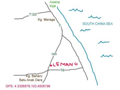 map to lemang stalls at kijal, terengganu