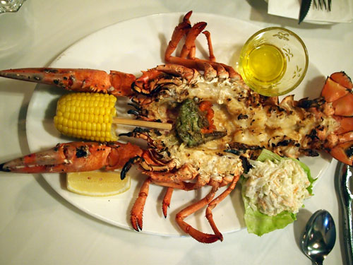 700 gram lobster, chargrilled the traditional American style