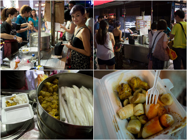 road side stall with chee cheong fun and dimsum in the city