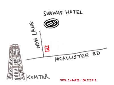 map to New Lane in Penang